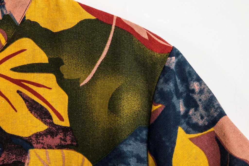 リネンカジュアル男のシャツ 2019 夏のビーチのシャツブラウスメンズエスニック半袖カジュアル葉プリントアロハシャツヴィンテージブラウス