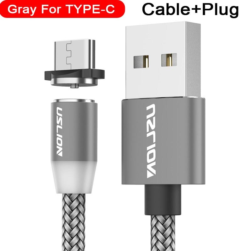 Магнитный usb-кабель USLION для быстрой зарядки, кабель USB type C, Магнитный зарядный кабель Micro usb для зарядки и передачи данных, кабель USB для мобильного телефона - Цвет: For Type C Gray