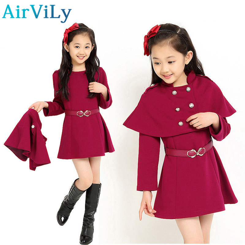 Kids Girls Shawl Jacket Winter Autumn Outerwear Two Pieces Sets Shawl Dress Clothing Set Vestido De Menina Vitality School Style