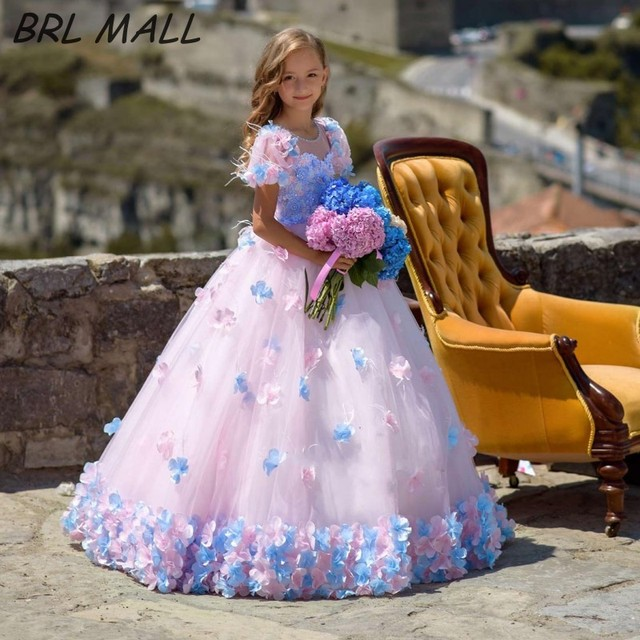Princess Lovely Pink Flower Girl Dresses with 3D flowers Short Sleeves girls  Ball gown 2019 New Girls Pageant Dresses e2462f04be7f