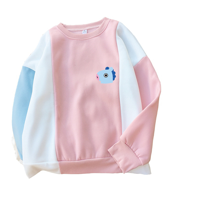 New Idol Clothes BTS BT21 Hoodies Women Cute Cartoon Sweatshirts Korean Kpop Bangtan Boys Harajuku Kawaii Spell Color Thick Tops
