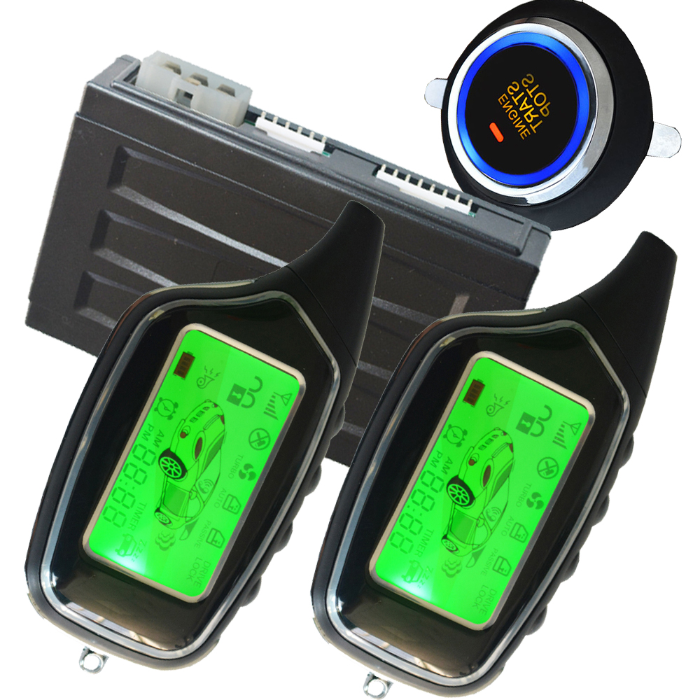 2 way auto car alarm system with engine start stop button and shock sensor alarm remote central lock unlock car door push start купить недорого в Москве