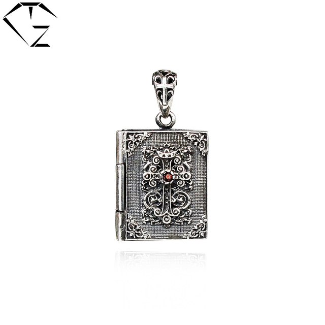 925 Sterling Silver Pendant Bible Scripture 100% Real Pure Genuine S925 Solid Thai Silver Garnet Pendants for Men Jewelry