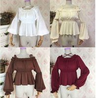 Vintage Lolita Long/Short Top Shirts Japan Lolita Sweet Women Girls Chiffon White Coffee Beige Blouse Off Shoulder Kawaii Shirt