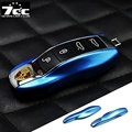 Blue FOB Remote Key Case Cover Replacement for Porsche boxster cayman 911 Panamera Cayenne Macan