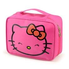 Hello Kitty de la muchacha Bolsa de Cosméticos Lindo Viajes Organizador de Maquillaje Caso Esteticista Belleza Maleta Accesorios Suministros de Productos