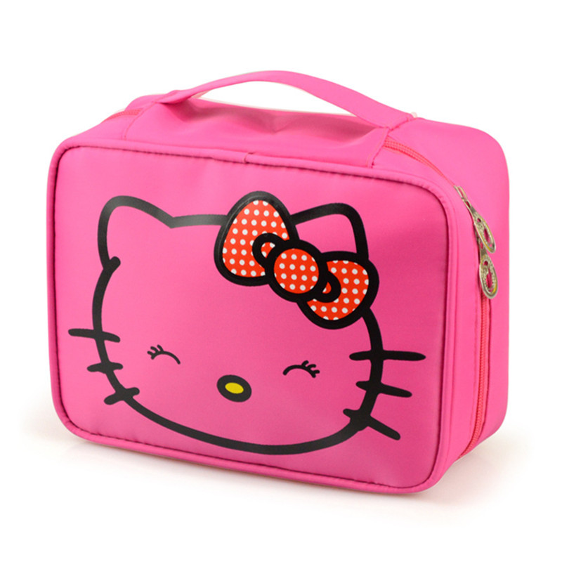 Hello Kitty Cosmetic Bag Cute Waterproof Travel Makeup Organizer Case Beautician Beauty Suitcase Accessories Supplies Products