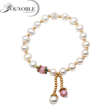 Beautiful Real round freshwater pearl buddha allah bracelet,black white trendy pearl bracelet women