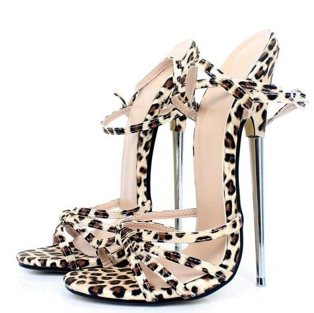 a7afa07557 Sexy Sandals High Heels Leopard Gladiator Strap Sandals 18CM Cross Straps  Metal High Heel Stiletto Sandal