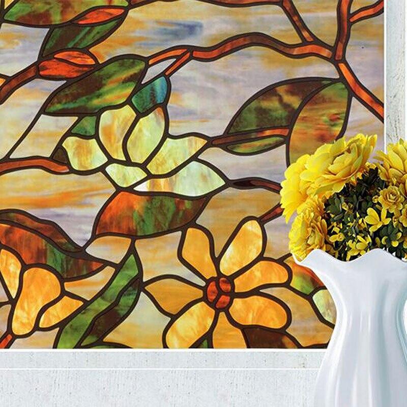 Longue statique magnolia fleur givré fenêtre autocollant cellophane teinté opaque salle de bains créatif décoratif verre films 60 cm x 550 cm
