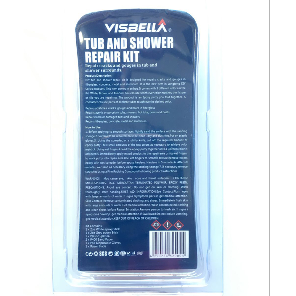 Visbella DIY Tub and Shower Repair Kit Bath Crock Bathtub Repair ...