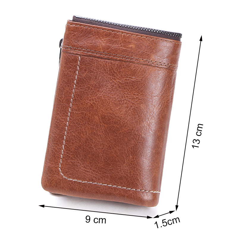 Image 2 - CONTACTS Genuine Leather Men Wallet Short Coin Purse Male Small Vintage Hasp Wallets High Quality Card Holders Cuzdan For ManWallets   -