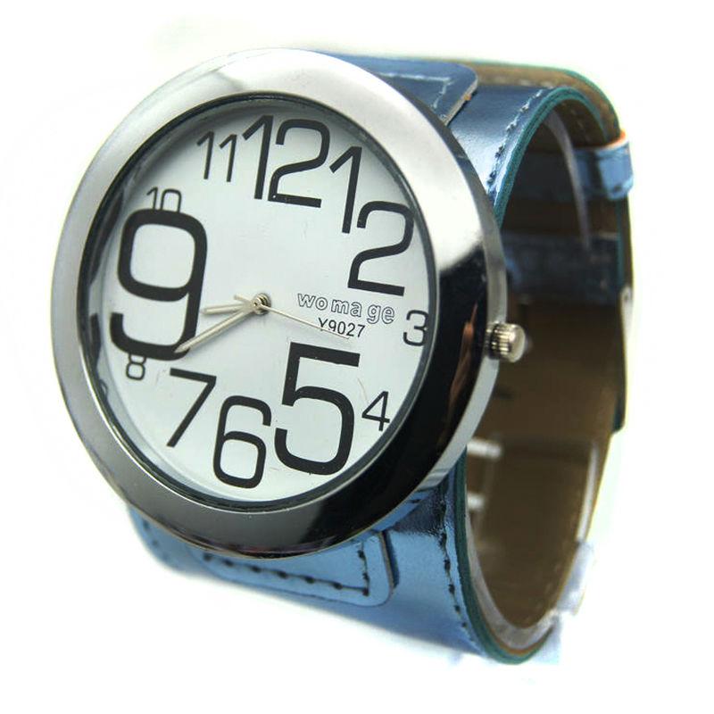 ef8c7dcacd7 Top quality marca womage moda big assista 8 cores de couro strap militar  big round dial