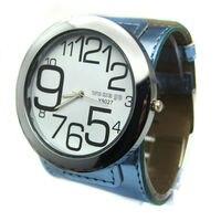Free Shipping 50pcs Lot Quartz Movement Big Face Leather Band High Quality Lady Watch