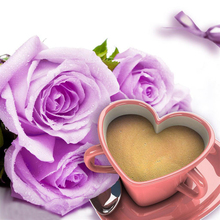 5D Diy Diamond Painting Cross Stitch Rose & Heart Shaped Coffee 3D Embroidery Full Round Mosaic Decoration Resin Sticker