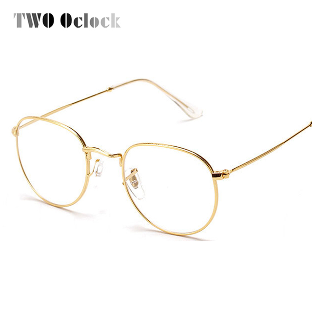 2a7a472ccba TWO Oclock Fashion Gold Metal Frame Eyeglasses For Women Female Vintage  Glasses Clear Lens Optical Frames