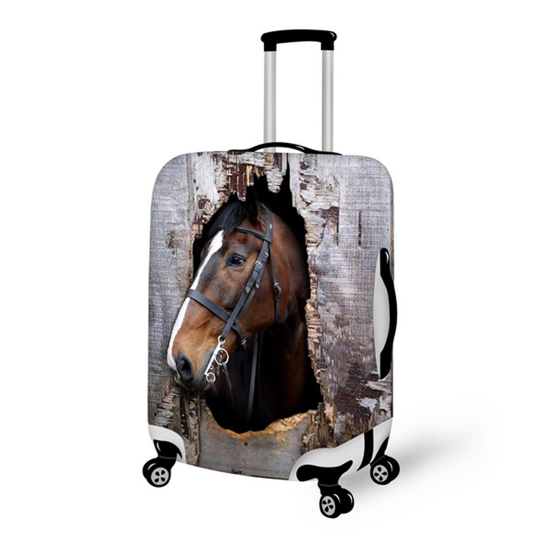 Brown Printing Animal Horse Travel Suitcase Cover Stretch 18/20/22/24/26/28 Waterproof Luggage Protective Dust Cover