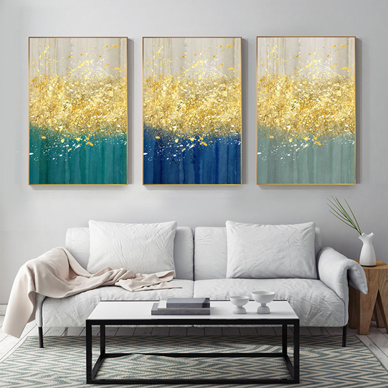Abstract Bright Gold Tree Drop Green Poster Painting Modern Canvas Art Print Wall Art Pictures for Living Room Tableau Salon