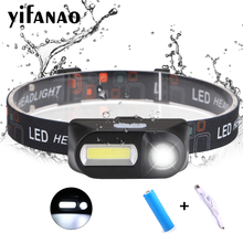 USB COB LED Headlamp + XPE Head Lamp 5W Rechargeable 18650 Battery Night Running Headlight Torch for Fishing Camping Hiking