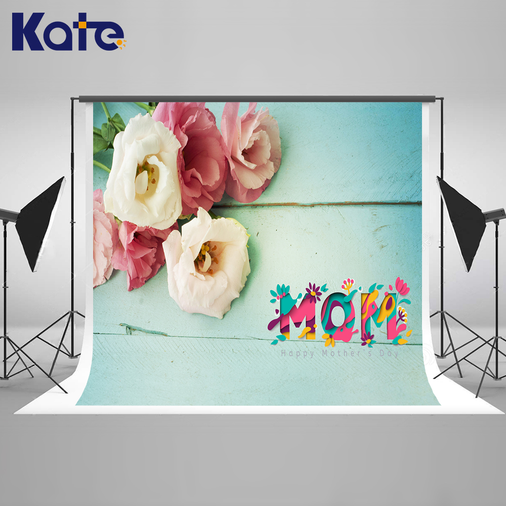 Kate Mothers Day Green Wood Photography Background Backdrop Colorful Flower Backdrops Washable Backgrounds for Photo Studio kate happy mothers day photography backdrops white flower wood background spring photography backdropsbaby background