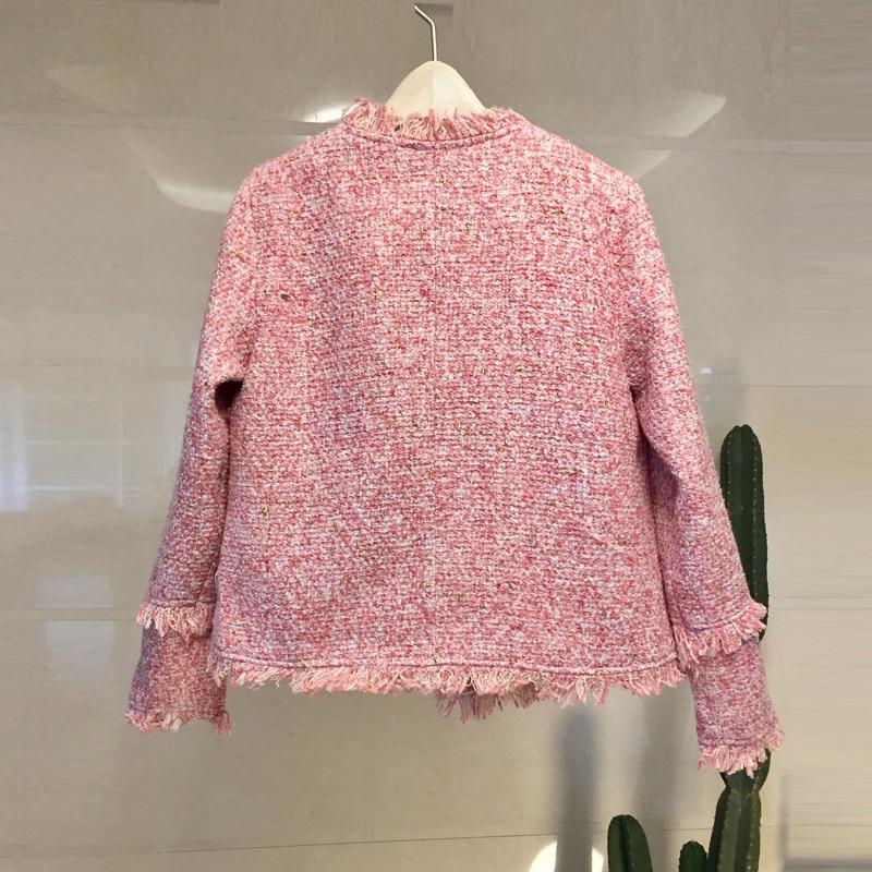 Manteau Rétro Gris rose Arc Femmes Formelle Court De Laine Franges Perle Avec Perles Nouveau Vestes Tweed Boucle 2019 tvaOTqww