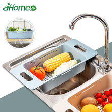 Retractable sink drainer Vegetable Fruits Washing Basket Extensible Colander rack  kitchen vegetable storage