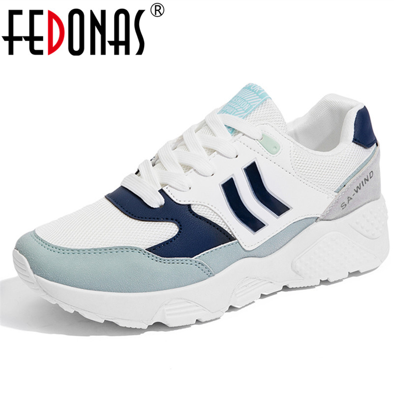FEDONAS 2018 New Women Sneakers Wedges Heels Travel Shoes Woman Lace Up Platforms Creepers Female Casual Flats Ladies Shoes instantarts casual women s flats shoes emoji face puzzle pattern ladies lace up sneakers female lightweight mess fashion flats