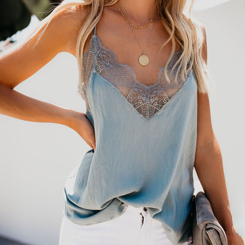 2019 High Women Lace Vest Sleeveless V Neck Strappy Slim Fit Simple   Tank     Tops   for Summer DSM