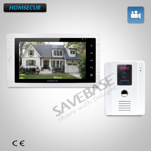"HOMSECUR 7"" Wired Hands-free Video Door Phone Intercom System+White Camera 1C1M"