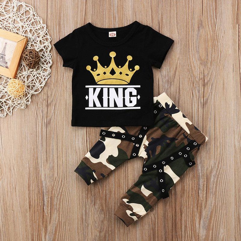 2PCS Newborn Toddler Baby Boys Shirt Tops+Camo Pants Leggings Set Clothes 0-4Y