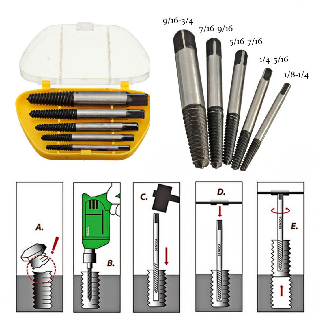 5Pcs/set Screw Extractor Easy Out Set Drill Bit Set Guide Broken Damaged Bolt Remover Drill Bits For Power Tools 5pcs set screw extractor drill bits guide broken damaged bolt remover drop shipping sale