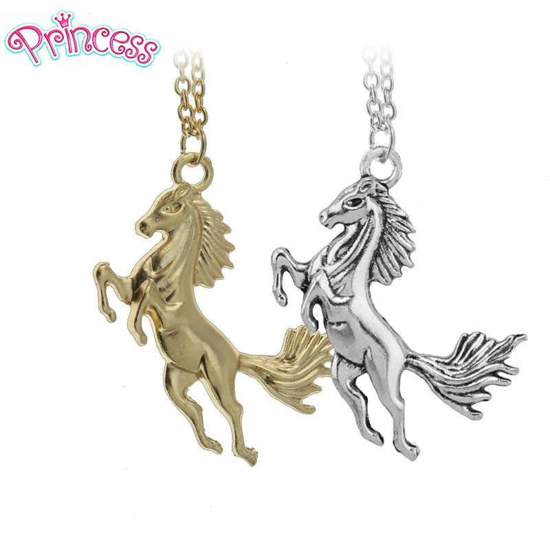 "2019 Women Jewelry Gold Vintage Silver Horse Pendant 18"" Short Necklace For Women Girl Gift Wholesale Free Shipping ED4425"