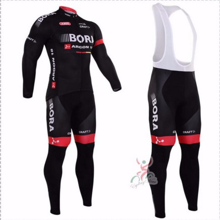 2017 BORA Men's Spring/Autumn Long Sleeve Pro Cycling Jersey Set Team Bike Clothes Ropa Maillot Ciclismo with 9D Gel Pad