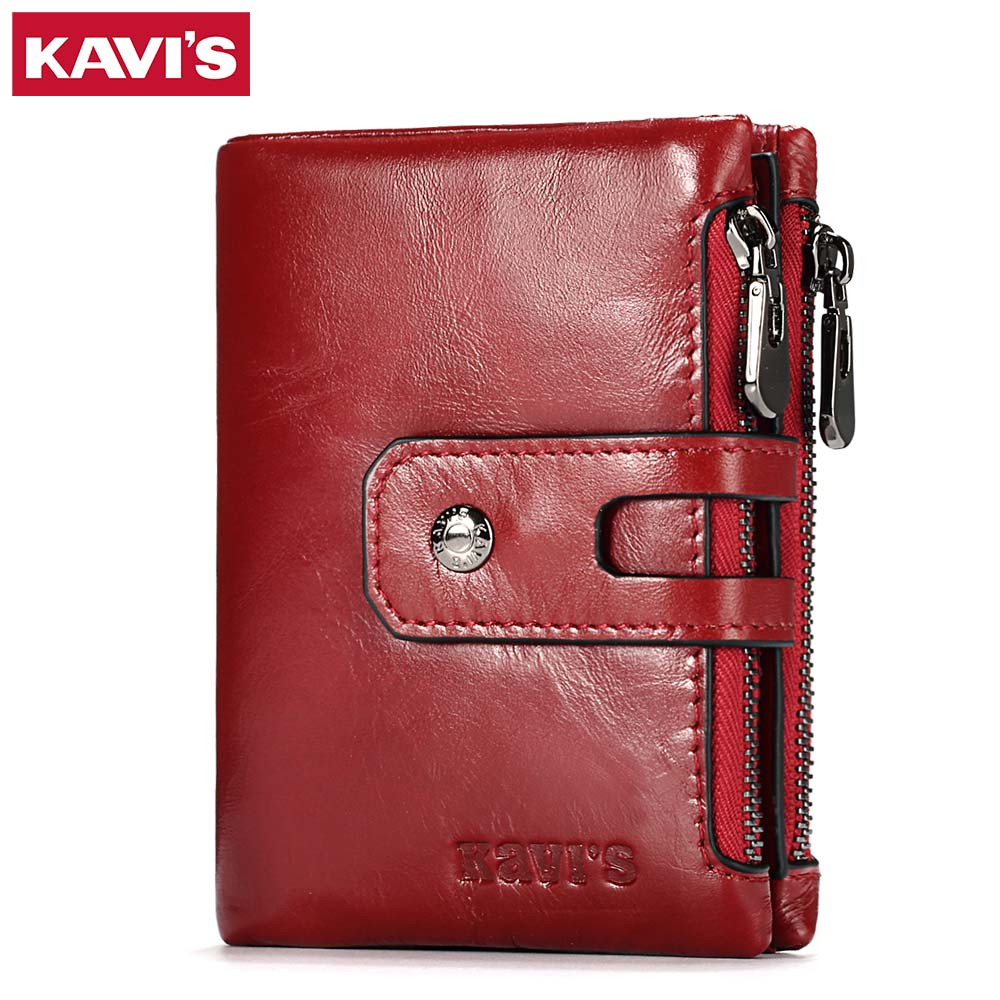 KAVIS Dark Red Genuine Leather Women Wallet Female Coin Purse Small Walet Portomonee Lady PORTFOLIO Zipper For Girls Vallet Mini