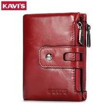 KAVIS Dark Red Genuine Leather Women Wallet Female Coin Purse Small Walet Portomonee Lady PORTFOLIO Zipper for Girls Vallet Mini