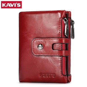 Image 1 - KAVIS Dark Red Genuine Leather Women Wallet Female Coin Purse Small Walet Portomonee Lady PORTFOLIO Zipper for Girls Vallet Mini