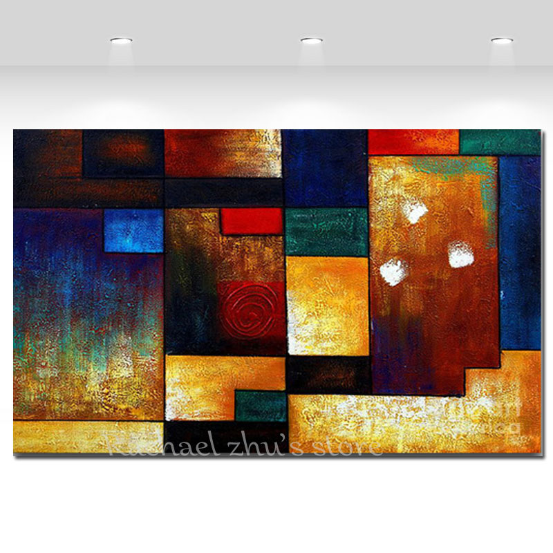 Super Large Hand Painted Modern Abstract Color blocks Oil Painting On Canvas Abstract Wall Pictures For