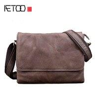 AETOO Genuine Leather Men S Bag Shoulder Bag Retro First Layer Leather Messenger Bag Casual Travel