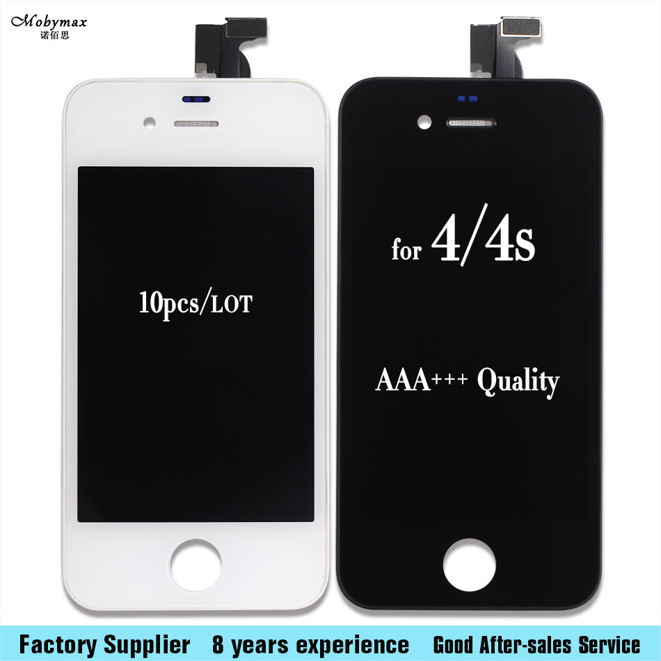 10pcs For iPhone 4S LCD Display Touch Screen Glass Lens Digitizer Assembly White Black Wholesale bulk price