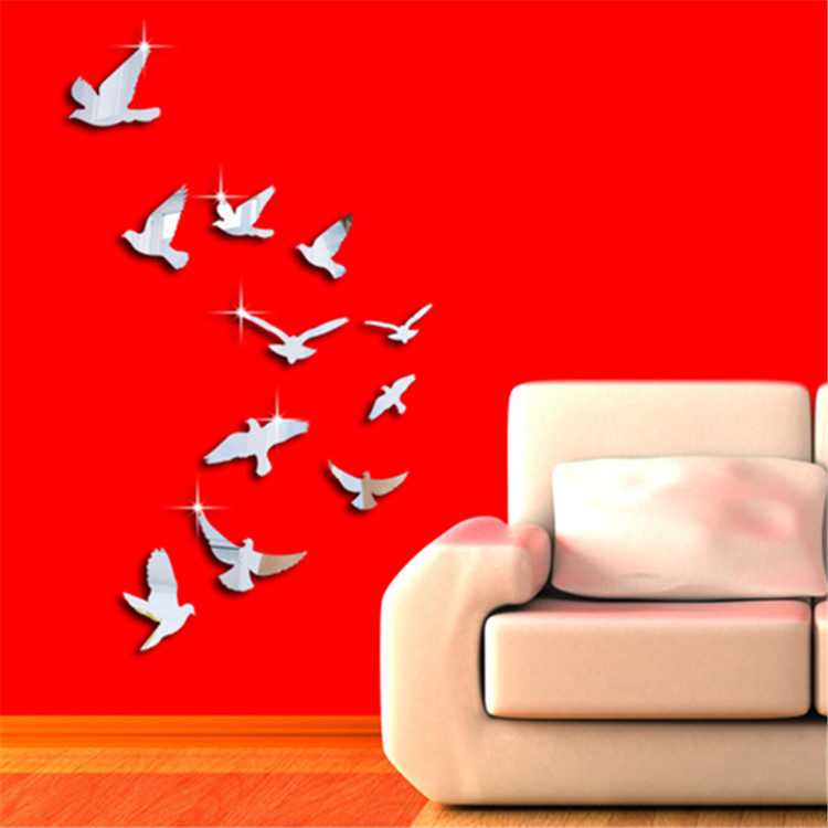 Silver Acrylic Birds Design Mirror Effect Mural Wall Sticker Decal Modern Home Room Decor Decoration Craft