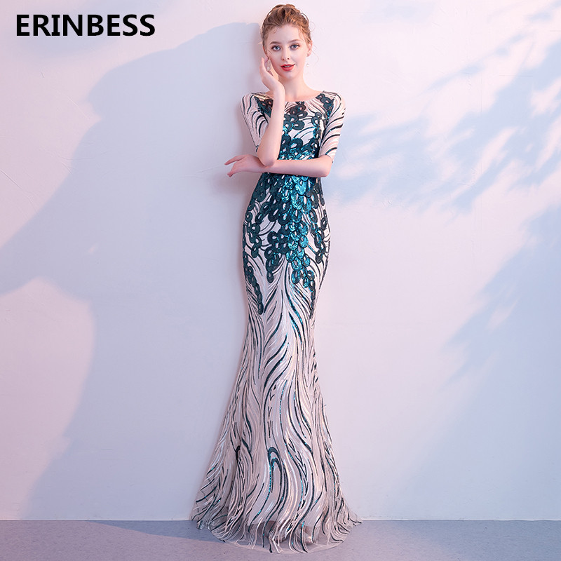 Sexy Mermaid Sequined   Evening     Dresses   Long   Dress   Sexy Scoop Neck Half Sleeve   Evening     Dress   Elegant 2019 Formal Prom Gowns