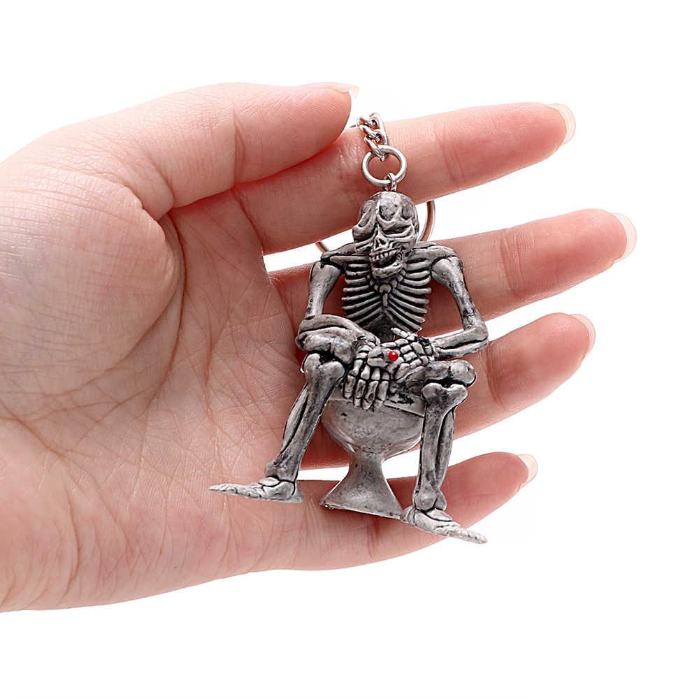 Брелок с унитазом Для женщин Для мужчин шикарный Туалет Скелет Сумочка с черепом брелок со стразами ювелирные изделия очаровательный кулон для сумки Забавный Подарочный Брелок для ключей