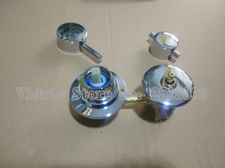 Mélangeur de salle de douche sur mesure robinet d'eau froide et chaude, 2/3/4/5 voies filetage mitigeur de salle de bain chromé - 3