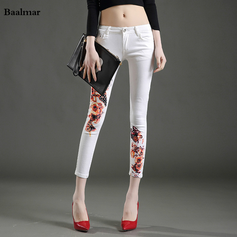 Baalmar Women Jeans Large Size Mid Waist Spring 2017 White Elastic Long Skinny Slim Jeans Trousers