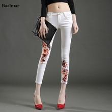 Baalmar Women Jeans Large Size Mid Waist Spring 2017 White Elastic Long Skinny Slim Jeans Trousers For Women Jeans Femme