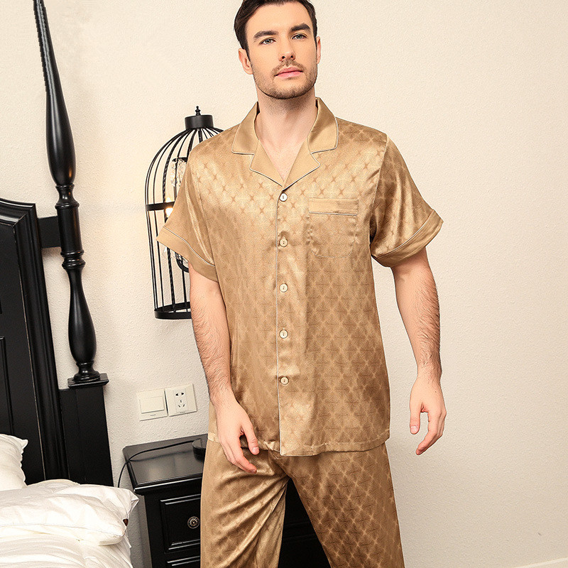 Luxury Nobleman New 100% Real Silk Pajamas For Men Short Sleeves Long Trousers Heavy Silk Pajama Set Silk Pijamas Sleepwear