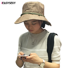 iEASYSEXY Brand 2016 Fashion Korean Style Six Colors Summer Sunscreen Cap Women Adult Casual Solid Cotton Jute Hat With Fastener