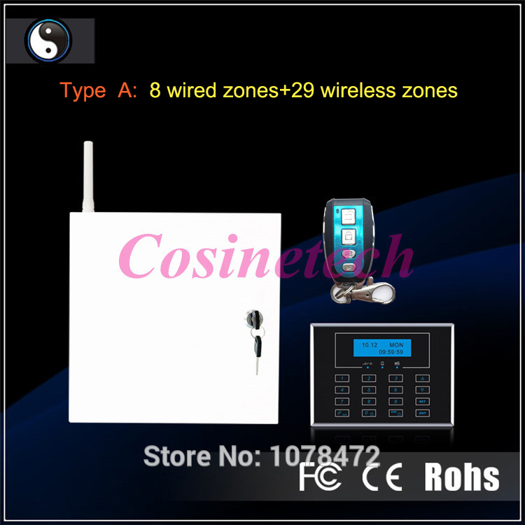 8/16 wired zones hard wire gsm alarm system wired GSM PSTN home security alarm system with 29 wireless zones house safe system free shipping 16 zones wired and wireless alarm control pane home security alarm host wireless and wired 850 900 1800 1900mhz