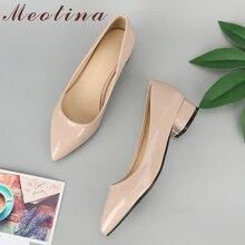 Meotina sapatos femininos bombas dedo do pé apontado saltos grossos primavera senhoras saltos baixos deslizamento em sapatos casuais 2020 branco vermelho tamanho grande 9 42 43
