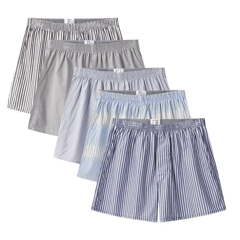 4 Packet Classic Striped Men's Boxers Cotton Mens Underwear Trunks Woven Homme Arrow Panties Loose Boxer Plus Size 4XL 5XL 6XL